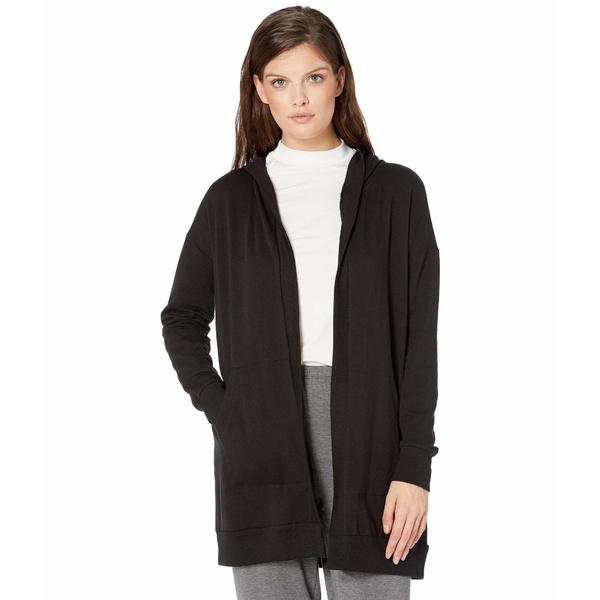 Hooded Black ニット&セーター アウター Pockets エイリーンフィッシャー レディース w/ Jacket Long