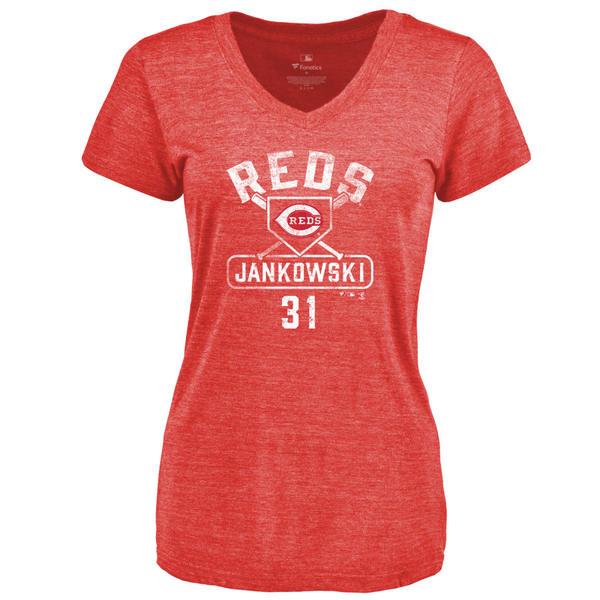 ファナティクス レディース Tシャツ トップス Cincinnati Reds Fanatics Branded Women's Personalized Base Runner TriBlend TShirt Red