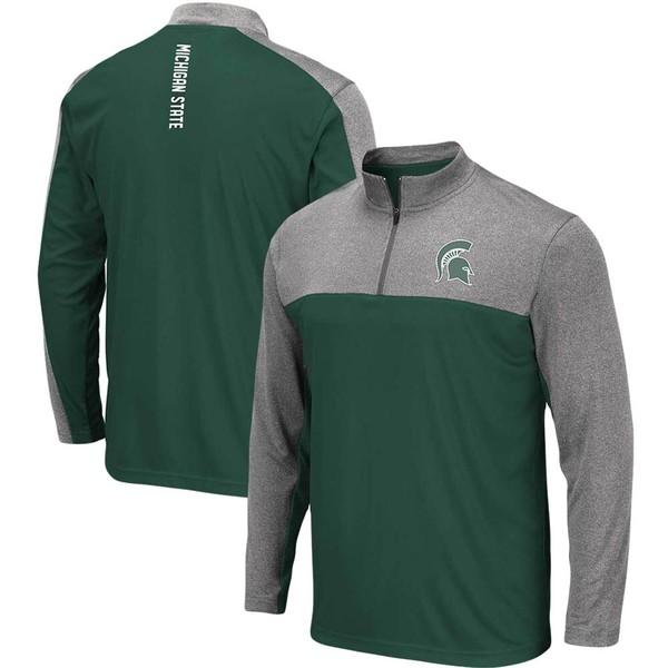 コロシアム メンズ ジャケット&ブルゾン アウター Michigan State Spartans Colosseum Luge Windshirt QuarterZip Pullover Jacket Green