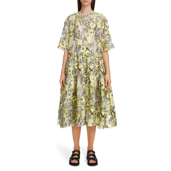 セシリー・バンセン レディース ワンピース トップス Elliemay Floral Jacquard Tiered Midi Dress White/ Yellow