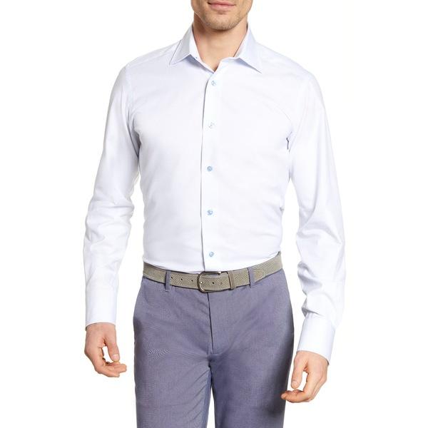 デイビッドドナヒュー メンズ シャツ トップス Trim Fit Check Dress Shirt White/ Sky
