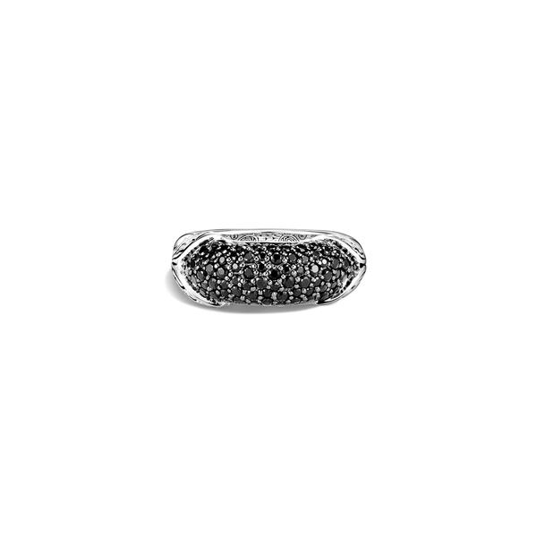 ジョン・ハーディー レディース リング アクセサリー Asli Classic Chainlink PavBand Ring Silver/ Black Sapphire/ Black