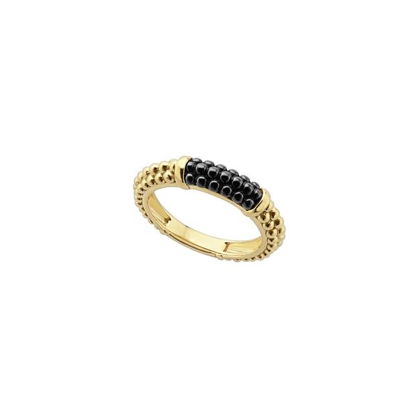 ラゴス レディース リング アクセサリー Gold & Black Caviar Stacking Ring Gold