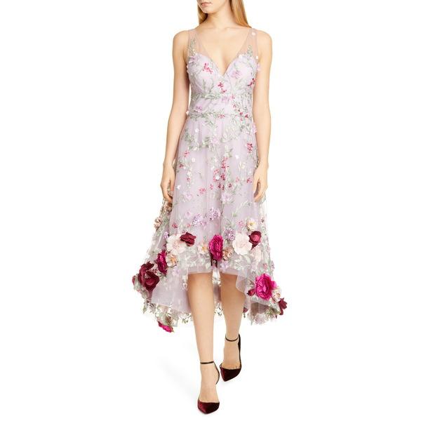 マルケサノット レディース ワンピース トップス Floral AppliquHigh/Low Cocktail Dress Lilac