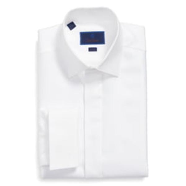 デイビッドドナヒュー メンズ シャツ トップス Trim Fit French Cuff Tuxedo Shirt White