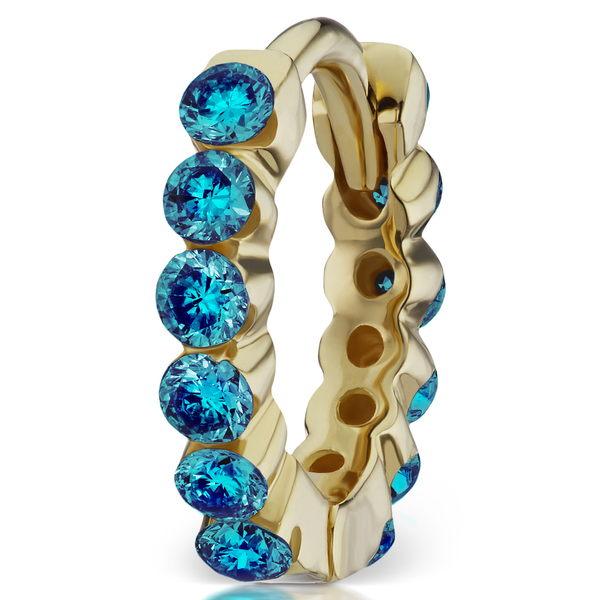マリア・タッシュ レディース ピアス&イヤリング アクセサリー Invisible Set Blue Diamond Eternity Earring Yellow Gold