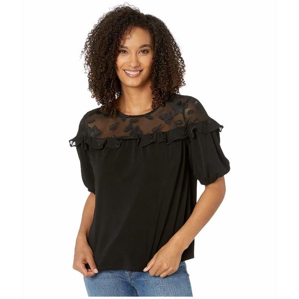 セセ レディース シャツ トップス Short Sleeve Knit Top with Clipped Floral Yoke Rich Black