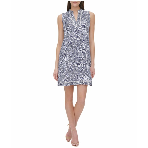 トミー ヒルフィガー レディース ワンピース トップス Atlas Paisley A-Line Dress Blue Multi