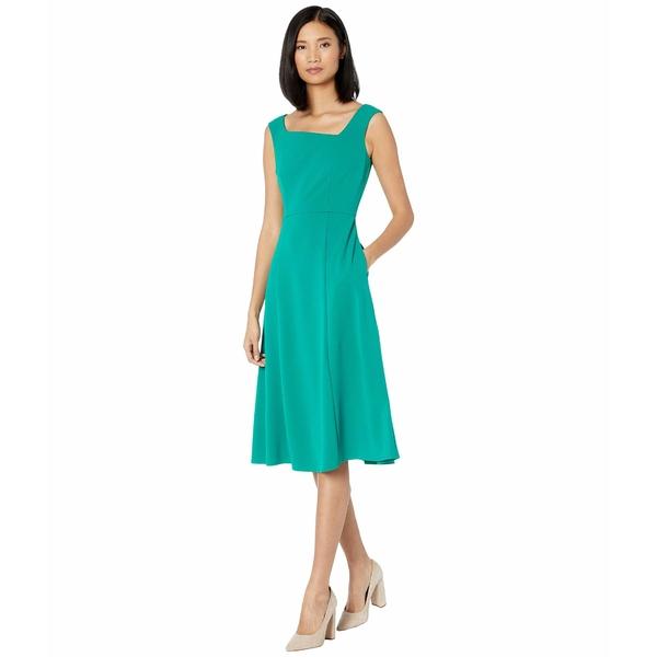 ドナモーガン レディース ワンピース トップス Stretch Crepe Sleeveless Asymmetric Neckline Fit and Flare Dress Evergreen
