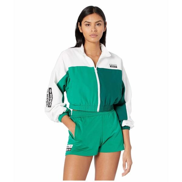アディダスオリジナルス レディース コート アウター Logo Tape Track Top White/Bold Green
