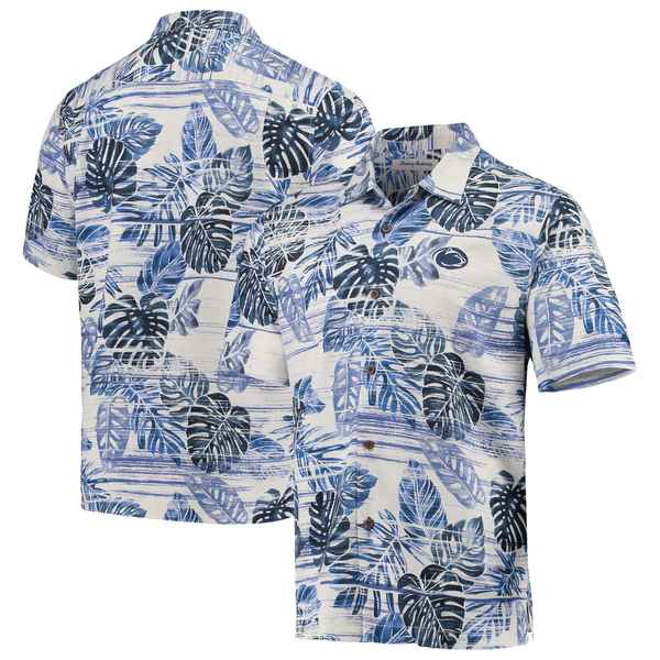 トッミーバハマ メンズ シャツ トップス Penn State Nittany Lions Tommy Bahama Super Fan Camp Shirt Navy