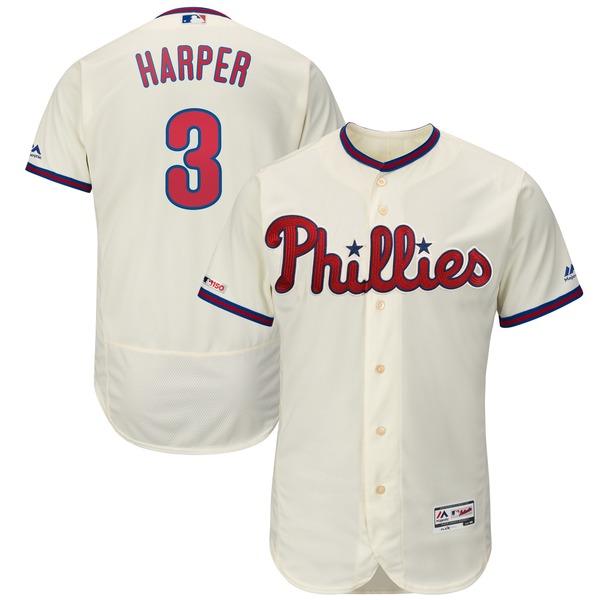 マジェスティック メンズ ユニフォーム トップス Bryce Harper Philadelphia Phillies Majestic Alternate Flex Base Authentic Collection Player Jersey Scarlet