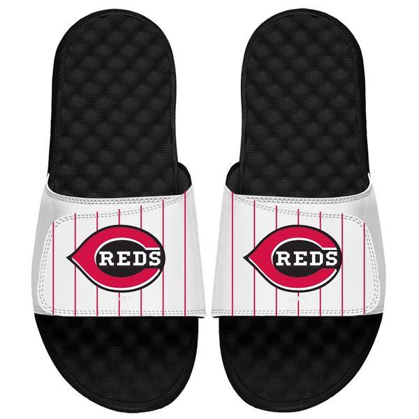 アイスライド メンズ サンダル シューズ Cincinnati Reds ISlide MLB Pinstripes Slide Sandals White