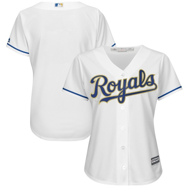 マジェスティック レディース ユニフォーム トップス Kansas City Royals Majestic Women's 2017 Home Cool Base Replica Team Jersey White