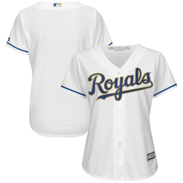 マジェスティック レディース ユニフォーム トップス Kansas City Royals Majestic Women's 2017 Home Cool Base Replica Team Jersey White