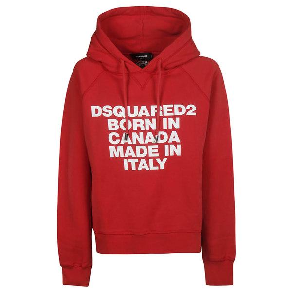 ディースクエアード レディース パーカー・スウェットシャツ アウター DSquared2 Born In Canada Print Hoodie RedBlue