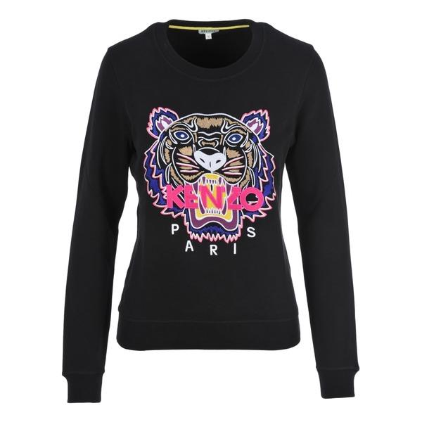 ケンゾー レディース パーカー・スウェットシャツ アウター Kenzo Embroidered Tiger Sweatshirt BLACKFUCHSIA