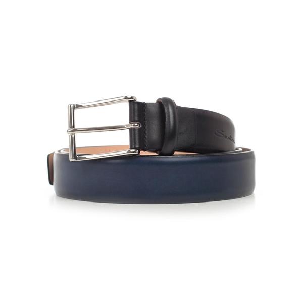 サントーニ メンズ ベルト アクセサリー Santoni Brushed Belt Blu