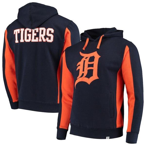 ファナティクス メンズ パーカー・スウェットシャツ アウター Detroit Tigers Fanatics Branded Team Logo Iconic Fleece Pullover Hoodie Navy/Orange