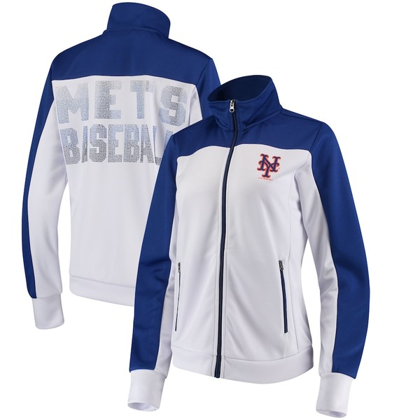 カールバンクス レディース ジャケット&ブルゾン アウター New York Mets G-III 4Her by Carl Banks Women's Play Maker Track Jacket White/Royal