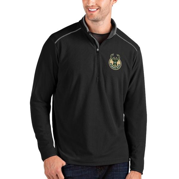 アンティグア メンズ ジャケット&ブルゾン アウター Milwaukee Bucks Antigua Big & Tall Glacier Quarter-Zip Pullover Jacket Black/Gray