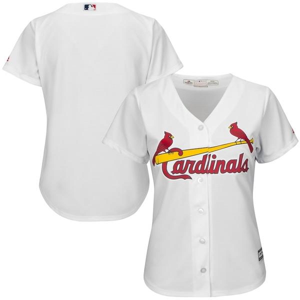 マジェスティック レディース シャツ トップス St. Louis Cardinals Majestic Women's Cool Base Jersey White