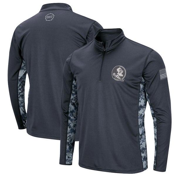 コロシアム メンズ ジャケット&ブルゾン アウター Florida State Seminoles Colosseum OHT Military Appreciation Digital Camo Quarter-Zip Pullover Jacket Charcoal