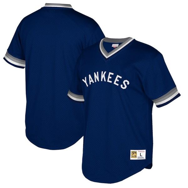 ミッチェル&ネス メンズ シャツ トップス New York Yankees Mitchell & Ness Cooperstown Collection Mesh Wordmark V-Neck Jersey Navy