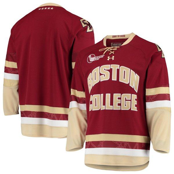 アンダーアーマー メンズ シャツ トップス Boston College Eagles Under Armour Replica College Hockey Jersey Maroon
