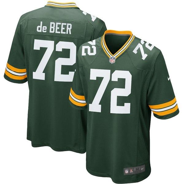 ナイキ メンズ シャツ トップス Gerhard de Beer Green Bay Packers Nike Game Jersey Green