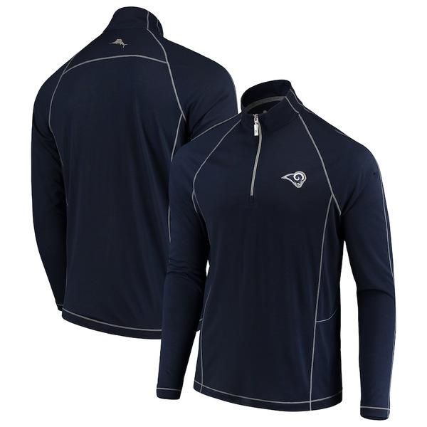 トッミーバハマ メンズ シャツ トップス Los Angeles Rams Tommy Bahama Goal Keeper Raglan Quarter-Zip Pullover Sweater Navy