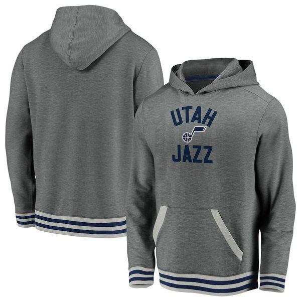 ファナティクス メンズ パーカー・スウェットシャツ アウター Utah Jazz Fanatics Branded True Classics Vintage Upperclassman Tri-Blend Pullover Hoodie Gray
