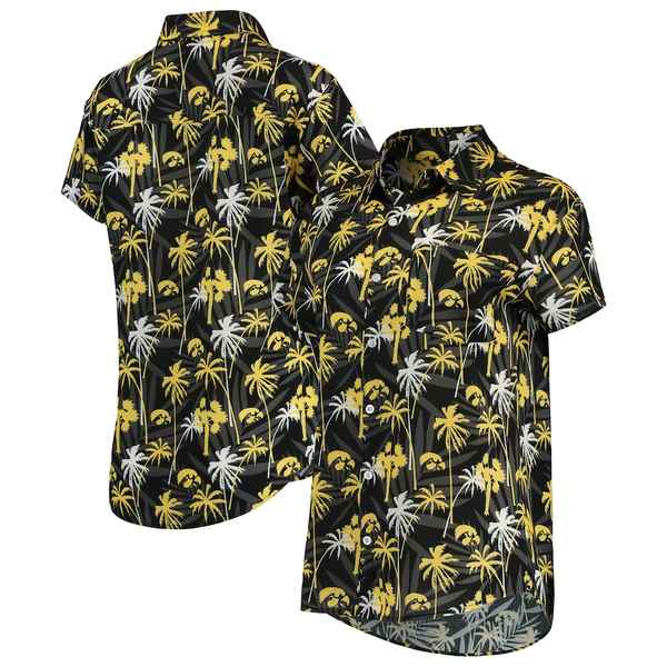 フォコ レディース シャツ トップス Iowa Hawkeyes Women's Floral Harmonic Button-Up Shirt Black