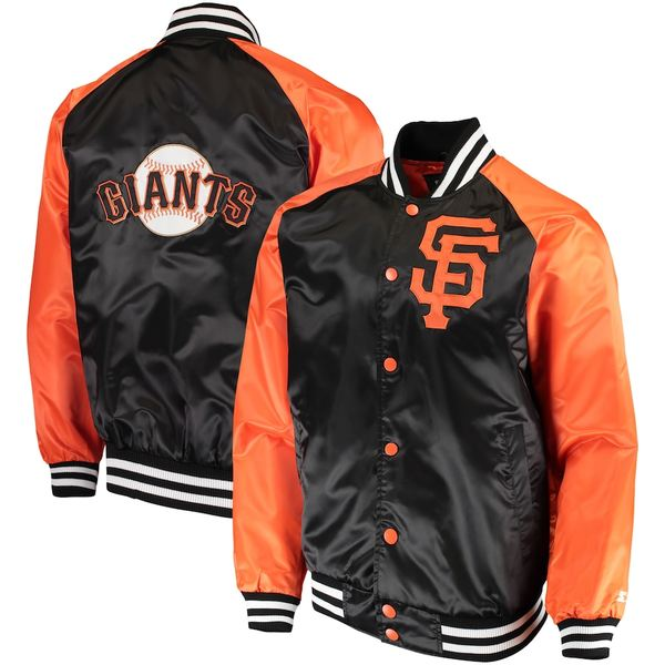 スターター メンズ ジャケット&ブルゾン アウター San Francisco Giants Starter The Lead Off Hitter Full-Snap Jacket Black/Orange