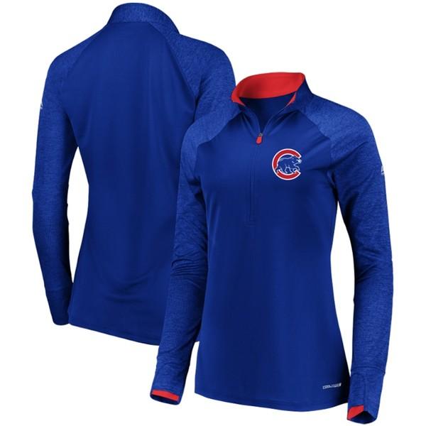マジェスティック レディース ジャケット&ブルゾン アウター Chicago Cubs Majestic Women's Extremely Clear Cool Base Raglan 1/2-Zip Jacket Royal