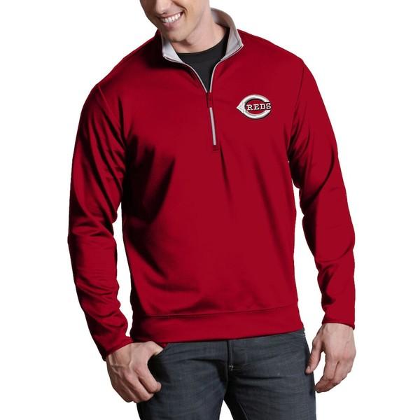 アンティグア メンズ ジャケット&ブルゾン アウター Cincinnati Reds Antigua Leader Quarter-Zip Pullover Jacket Red
