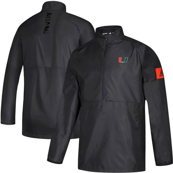 アディダス メンズ ジャケット&ブルゾン アウター Miami Hurricanes adidas 2019 Sideline Game Mode Quarter-Zip Jacket Black