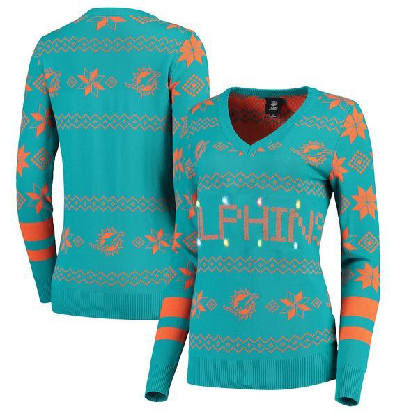フォコ レディース シャツ トップス Miami Dolphins Women's Light-Up V-Neck Ugly Sweater Aqua