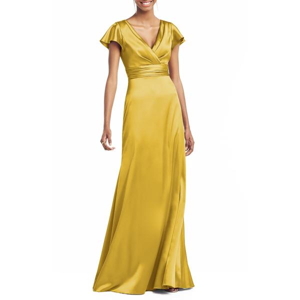 ソーシャルブライドメイド レディース ワンピース トップス V-Neck Satin Trumpet Gown Marigold