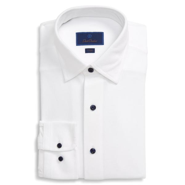 デイビッドドナヒュー メンズ シャツ トップス Trim Fit Solid Dress Shirt White