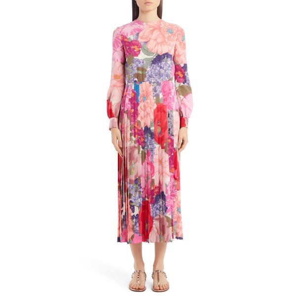 ヴァレンティノ レディース ワンピース トップス Floral Print Pleated Long Sleeve Silk Midi Dress Avorio/ Multicolor