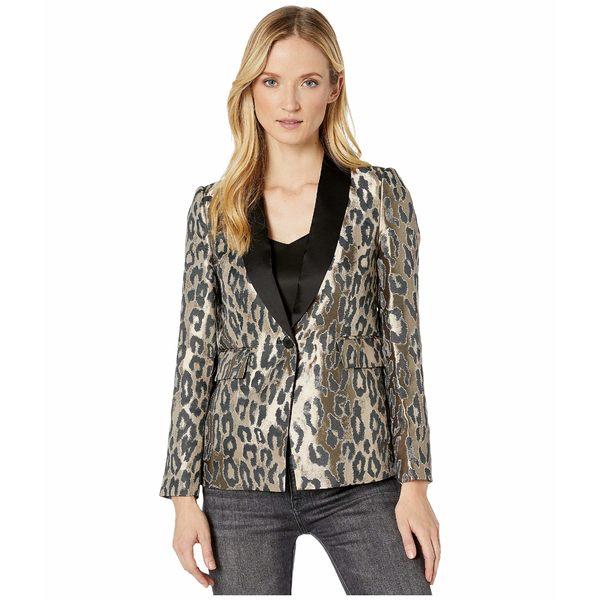 ヴィンスカムート レディース コート アウター Leopard Jacquard Blazer Rich Black