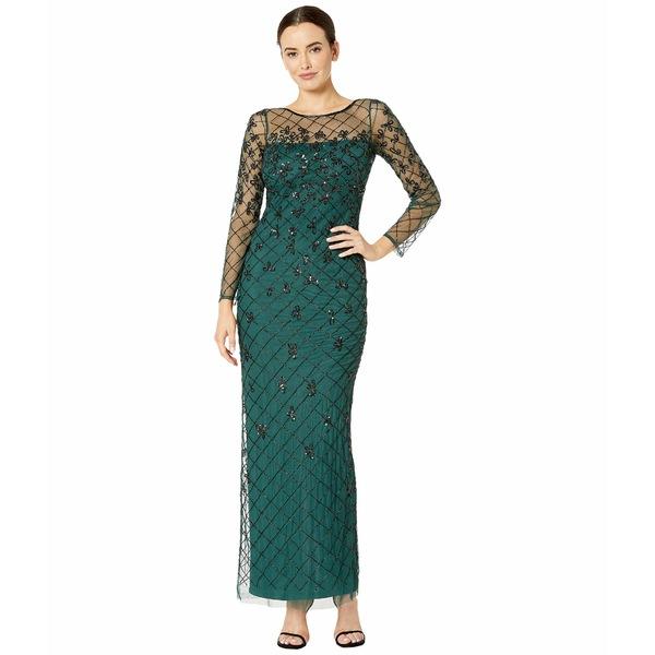 アドリアナ パペル レディース ワンピース トップス Beaded Long Column Gown Dusty Emerald