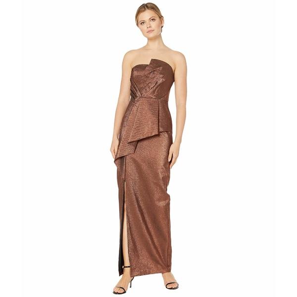 アドリアナ パペル レディース ワンピース トップス Stretch Lame Strapless Gown Copper