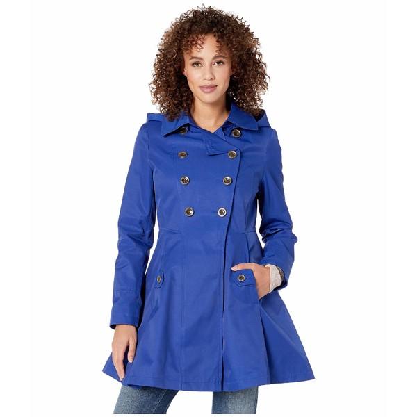 ヴィアスピガ レディース コート アウター Double Breasted Hooded Fit and Flare w/ Hood Positano Blue