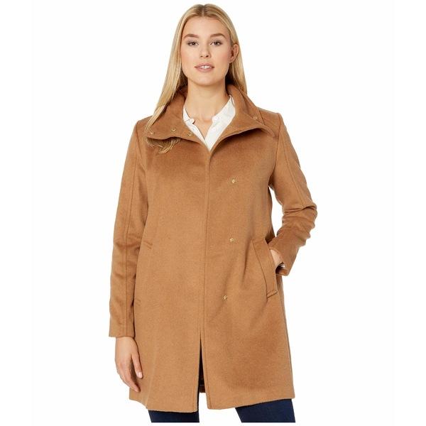 コールハーン レディース コート アウター Slick Wool Topper Coat w/ Snap Closure Camel