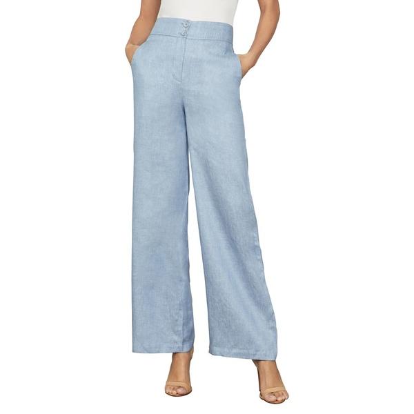 ビーシービージーマックスアズリア レディース カジュアルパンツ ボトムス High-Waist Linen & Cotton-Blend Sailor Pants Light Blue