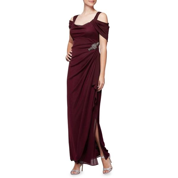 アレックスイブニングス レディース ワンピース トップス Cold-Shoulder Embellished Gown Wine