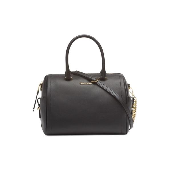 カルバンクライン レディース ショルダーバッグ バッグ Leather Satchel Crossbody Bag Black Gold