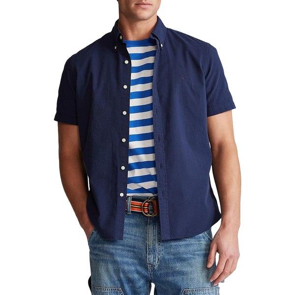 ラルフローレン メンズ シャツ トップス Classic Fit Seersucker Shirt Astoria Navy